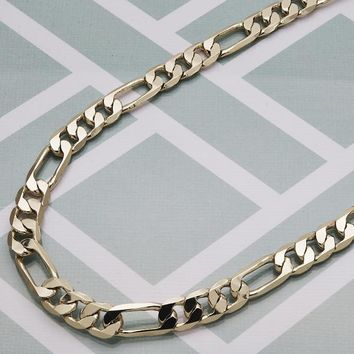 Gold Tone Men Figaro Basic Necklace, by Folks Jewelry