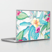 Blue tropical flowers Laptop & iPad Skin by printapix