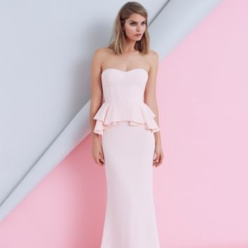 AMAZED MAXI DRESS - peplum maxi dress in blush