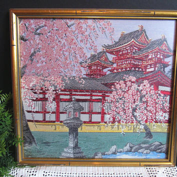 Vintage Framed Silk Brocade Tapestry, Chinese Pagoda, Blossoms, Gold Gilt Wood, Bamboo Design