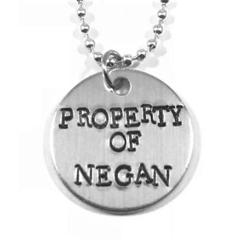 Walking Dead Hand Stamped Property of Negan Aluminum Necklace