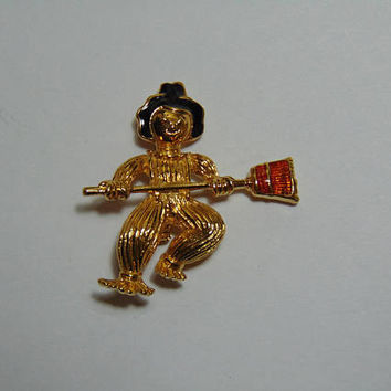Vintage Signed AVON Enamel Gold tone Scarecrow with Broom Brooch Pin Lapel Halloween