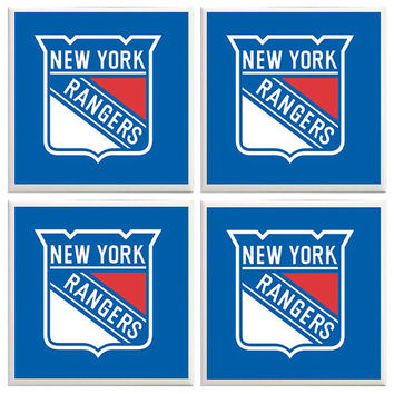 NY Rangers Coasters, New York Rangers, NY Rangers, Fathers Day, Sports Coasters, Man Cave, home decor, Office Decor, blue and red, hockey