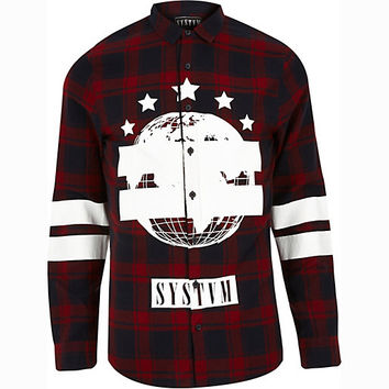River Island MensRed Systvm printed check shirt