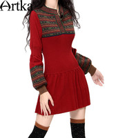 Artka Women's Autumn&Winter Casual Slim Warm Sweater Dress Vintage Lantern Sleeve All-match Knit One-piece Dress LB15838D