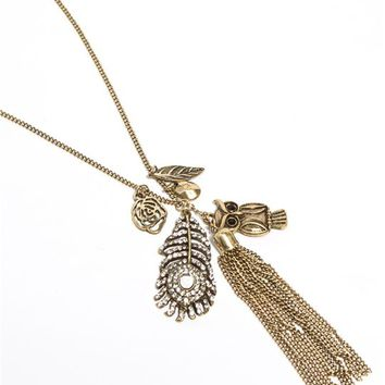Feather Cluster Necklace