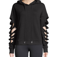 Alo Yoga Slay Slashed Long-Sleeve Hoodie Sweatshirt