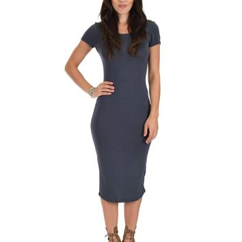 Lyss Loo Along The Lines Bodycon Charcoal Midi Dress