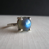 Sterling Silver Ring with Labradorite  Nebula by JaneFont on Etsy