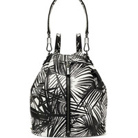 Elizabeth and James Cynnie Palm Printed Drawstring Backpack, White/Black