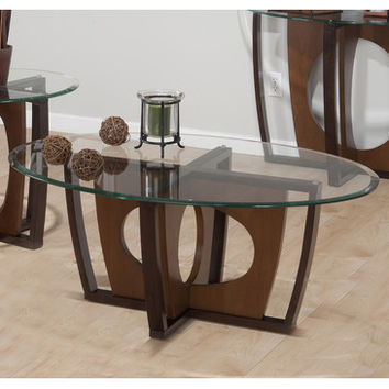 Jofran Ellipse Oval Beveled Glass Cocktail Table in Cherry