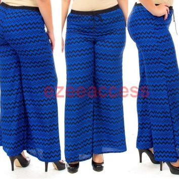 Sexy Women Plus Size Chevron Zig Zag High Waisted Wide Leg Palazzo Pants 1X,2,3X