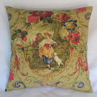 """Fragonard Toile Pillow Cover in Tan, Richloom Scenic Cameo with Flowers, Lady, Dog, 17"""" Sq, Gold, Red Fleur de Lis, French Country Fabric"""