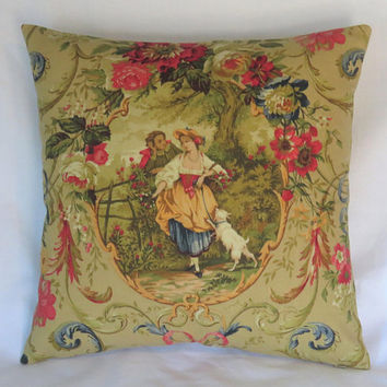 "Fragonard Toile Pillow Cover in Tan, Richloom Scenic Cameo with Flowers, Lady, Dog, 17"" Sq, Gold, Red Fleur de Lis, French Country Fabric"