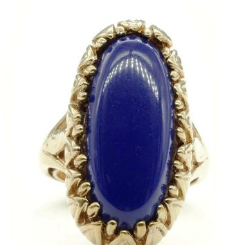 Adjustable Claw Wrapped Oblong Ring with Simulated Lapis Stone and Gold Tone Finish