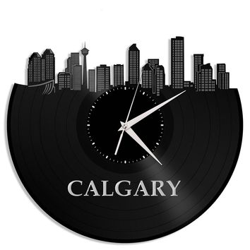 Calgary Alberta Canada Clock, Vinyl Wall Deco Clock, Unique Gift Ideas, Repurposed Record Art, Custom Man Cave Ideas, Vinyl Wall Clock