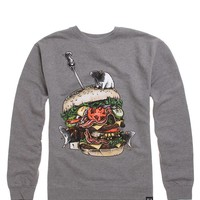 Rook Burger Skull Crew Fleece - Mens Hoodie - Grey -