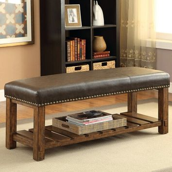 Katniss Collection Medium Oak Finish Wood And Padded Faux Leathe