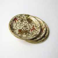 Vintage antique 1940s Japanese gold and white paper mache coaster set
