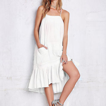 White Backless A-Line Spaghetti Strap Chiffon Ruffled Midi Dress
