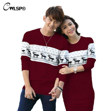 S-XXL 2016 Autumn Winter Lover Cartoon knitted Couples Sweater Women's Sweater Dress Christmas Pullovers Deer Sweater ZLY049