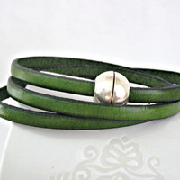 Green triple wrapped leather bracelet with by TyssHandmadeJewelry
