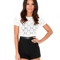 Missguided - Lillar Lace Playsuit In White