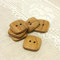 Natural wood buttons. Set of 6 square rowan wood buttons size 1 in (25mm) - R8357