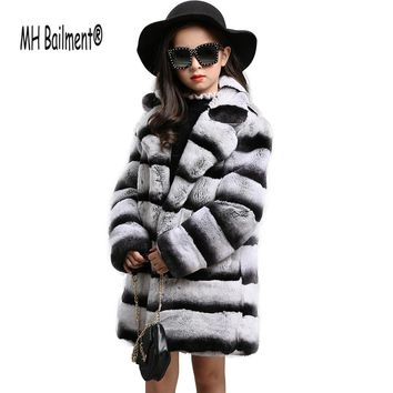 Children Rex Real Rabbit Fur Coat Autumn Winter Girls Real Fur Coats Long style thick Outwear Jacket Lovely Kids Fur Clothing