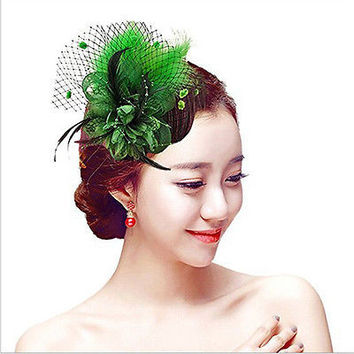 Birdcage Net Wedding Bridal Fascinator Face Veils Feather Flower with Hairpins