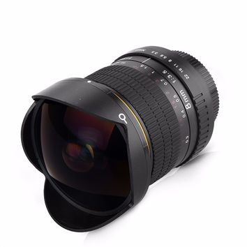 8mm F/3.5 Ultra Wide Angle Fisheye Lens for APS-C/ Full Frame Nikon D800 D700 D3200 D5200 D5500 D7000 D7200 D90 D3 DSLR Camera
