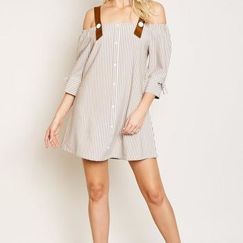 Tunic Dress With Button Strap Detail