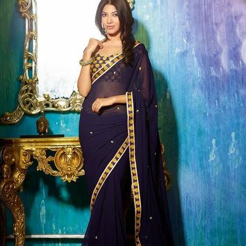 Designer Georgette Navy Blue Diva Saree