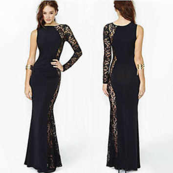 Womens Sexy Black Stylish Elegant Slim Long Lace Gown Cocktail Party Dress