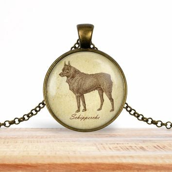 Schipperke pendant necklace, choice of silver or bronze, key ring option