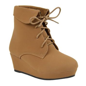 Kids Ankle Boots Lace Up Suede Casual Wedge Shoes Tan