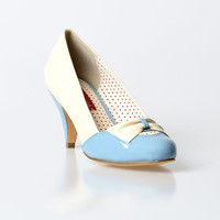 B.A.I.T. Dusty Blue & Cream Patent Hanalee Kitten Heels