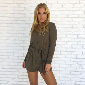 Wrap It Up Jersey Romper In Olive