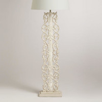 Wood Carved Panel Floor Lamp Base