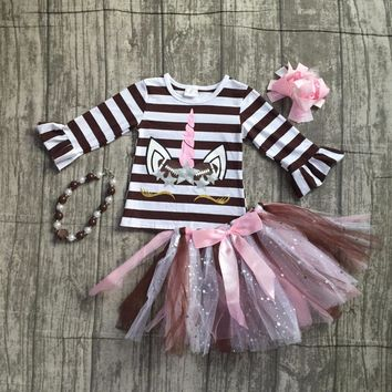 baby girls football season clothing baby girls stripes unicorn top with tutu skirts outfits long sleeve top with accessories
