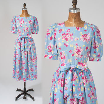 Vintage Laura Ashley Dress: 80s Blue & Pink Floral Cotton Designer Midi Dress wi Bow Country Cottage Spring Summer.