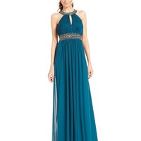 Xscape Dress, Sleeveless Jewel-Trim Pleated Halter Gown - Juniors Homecoming Dresses - Macy's