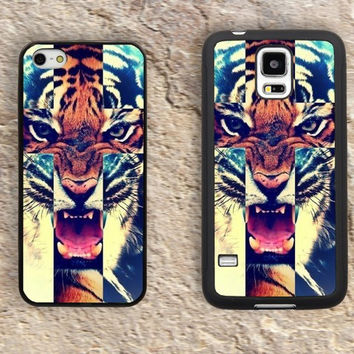Hipster Tiger Cross iPhone Case-iPhone 5/5S Case,iPhone 4/4S Case,iPhone 5c Cases,Iphone 6 case,iPhone 6 plus cases,Samsung Galaxy S3/S4/S5-280