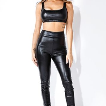 Gilty Pleasure Black Metallic High Waist Stretch Leggings