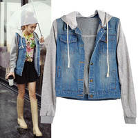 NEW Womens Denim Jersey Jacket Jean Jackets Hooded Coat VVS = 1932020100