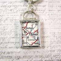 Raleigh North Carolina Map Double Sided Keychain