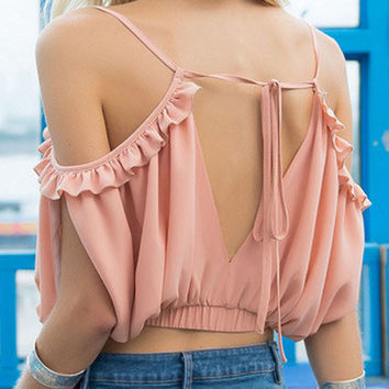 Pink Backless Flounced Chiffon Crop Top