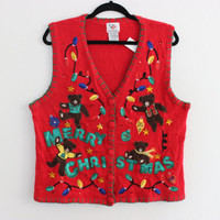 Ugly Christmas Sweater Vest with TEDDY BEARS! L  532