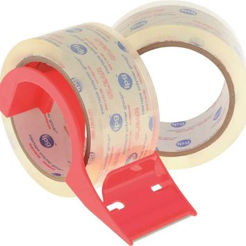 "Prostore Clear To Core Premium 2.5 Mil Acrylic Carton Sealing Tape With Dispenser 1.9"" X 55 Yd., 2 Per Pack"
