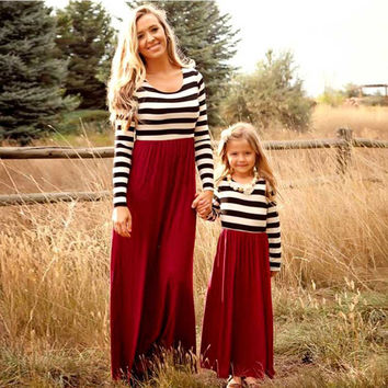 Sleeve mother daughter dresses Family Matching clothes Striped Mom and daughter dress Family look outfits